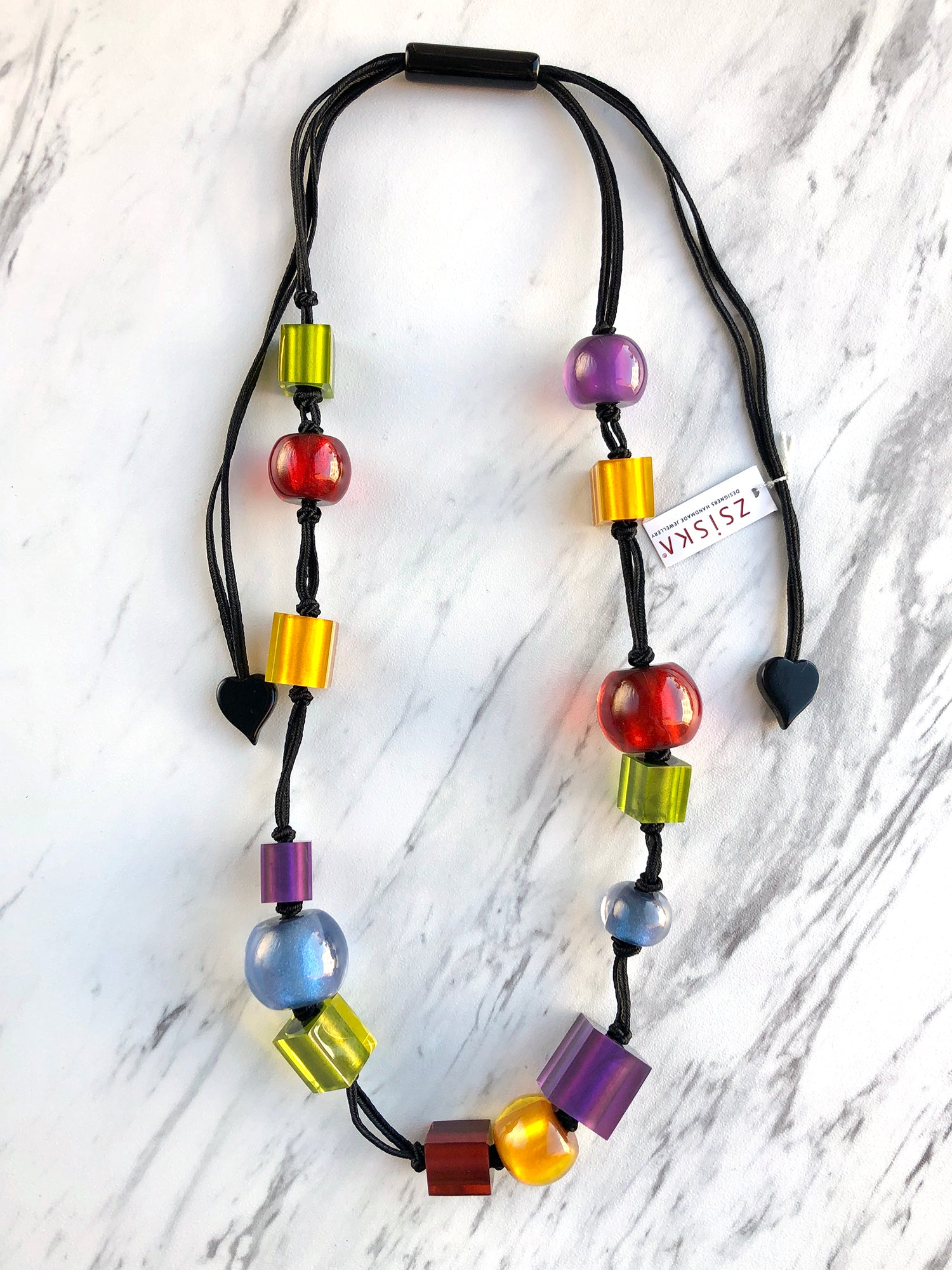 Zsiska Colorful Cubes Mix Bead Long Adjustable Necklace, Multi