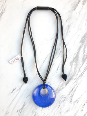 Zsiska Colorful Statement Round Pendant Necklace, Marine BlueZsiska Colorful Statement Round Pendant Necklace, Marine Blue