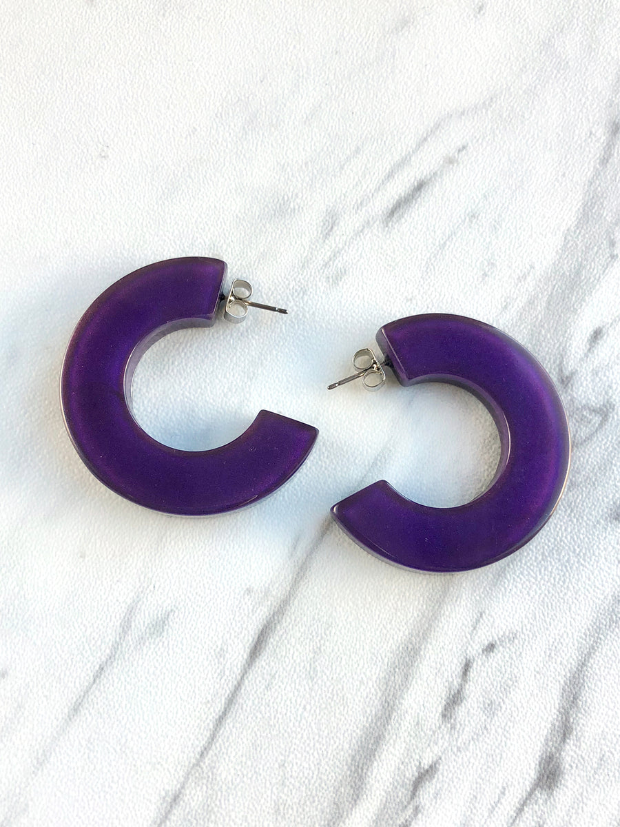 Zsiska - Colorfulbeads Flat Hoop Earrings - Purple
