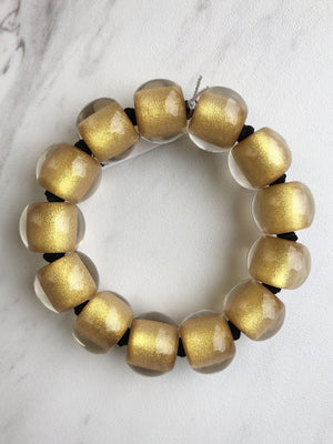 Zsiska - Colorfulbeads Medium Bead Stretch Bracelet - Gold