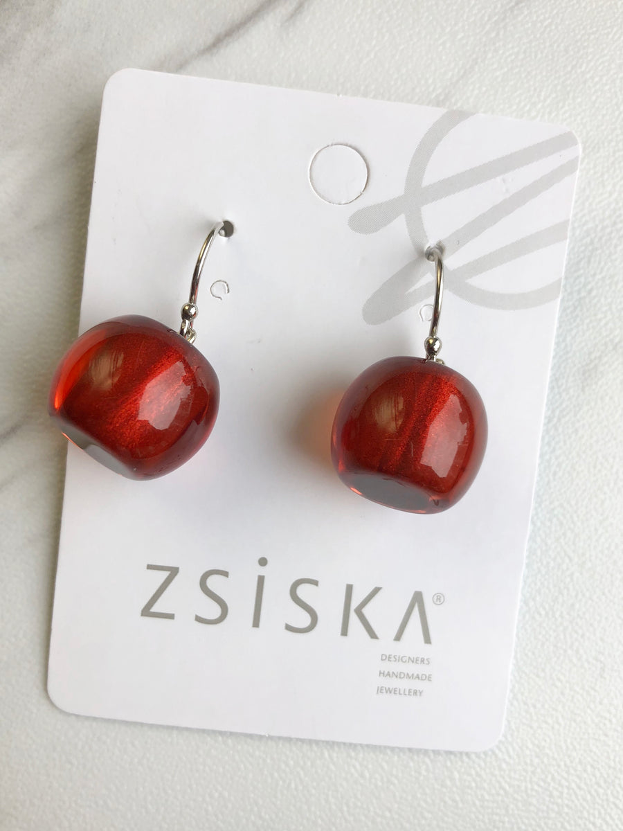 Zsiska - Colorfulbeads Small Drop Earrings - Red