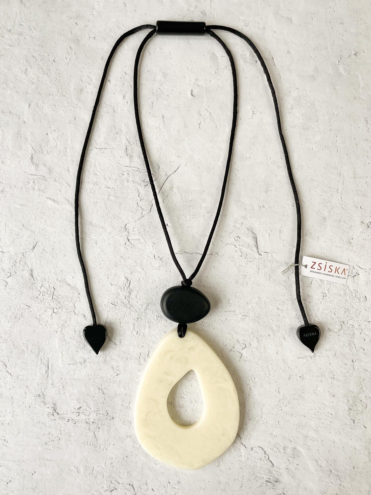 Zsiska Organic Pendant Necklace, White - Statement Boutique