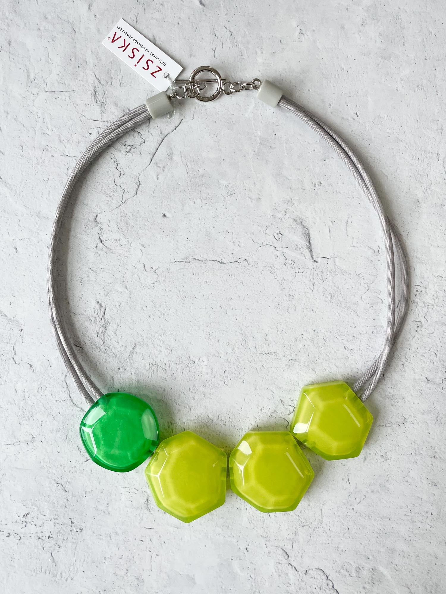 Zsiska Playa 4 Bead Toggle Necklace, Lime/Green