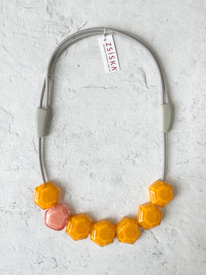 Zsiska Playa 7 Bead Necklace, Orange/Pink
