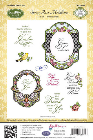 Spring Rose Medallions Cling Stamps