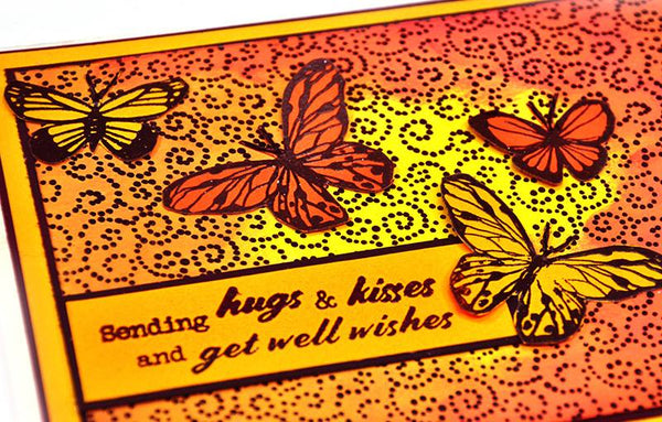 JustRite Get Well Soon Sentiments Clear Stamp