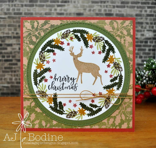 JustRite Merry Christmas Sentiments Clear Stamp