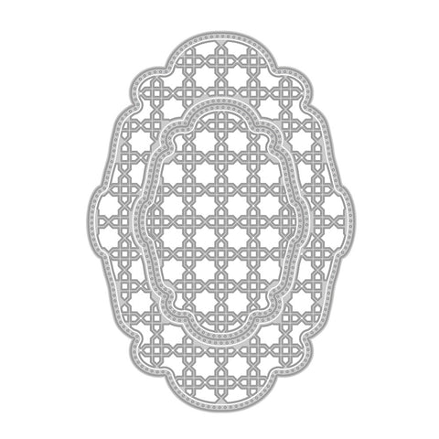 Tonic Studios - DECO OVAL TRELLIS BASE DIE SET