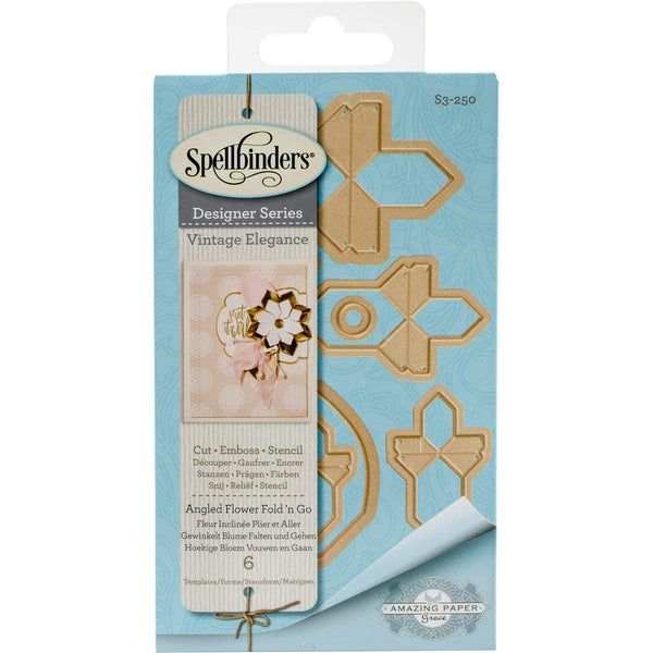 Spellbinders S3-250 Shapeabilities Angled Flower Fold 'N Go Etched/Wafer Thin Dies