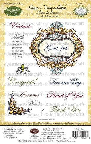Congrats Vintage Labels Three & Seven Cling Stamps