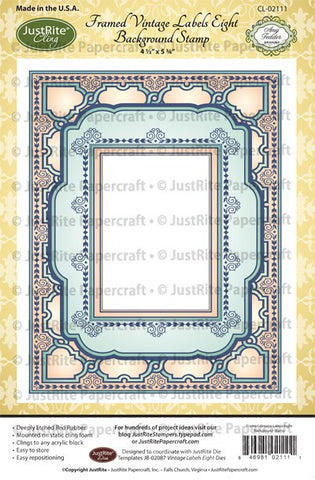 Framed Vintage Labels Eight Cling Background Stamp