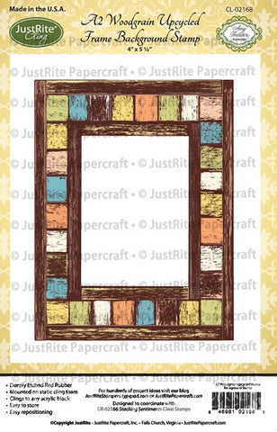A2 Woodgrain Upcycled Frame Cling Background Stamp