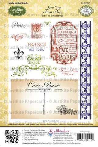 Greetings From Paris Cling Stamps