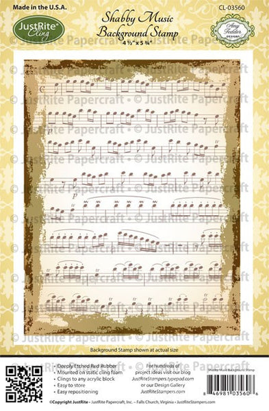 Shabby Music Background Cling Stamp