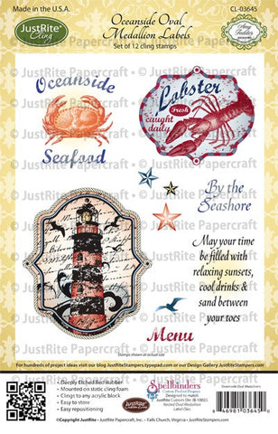 Oceanside Oval Medallion Labels Cling Stamps