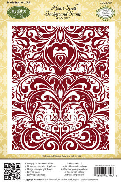 Heart Scroll Background Cling Stamp