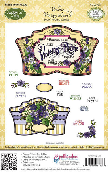 Violette Vintage Labels Cling Stamps