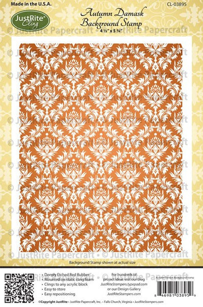 Autumn Damask Background Cling Stamp