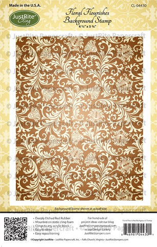 Floral Flourishes Background Cling Stamp