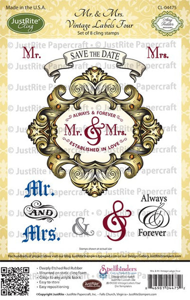 Mr. & Mrs. Vintage Labels Four Cling Stamps