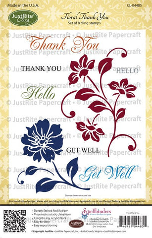 Floral Thank You Cling Stamps