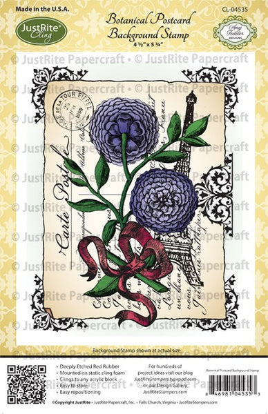Botanical Postcard Background Cling Stamp