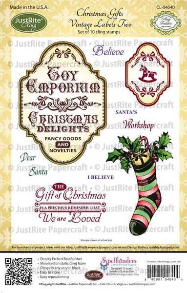 Christmas Gifts Vintage Labels Two Cling Stamps
