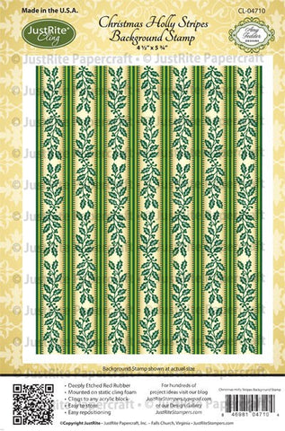 Christmas Holly Stripes Background Cling Stamp