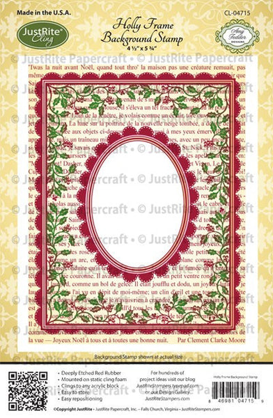 Holly Frame Background Cling Stamp