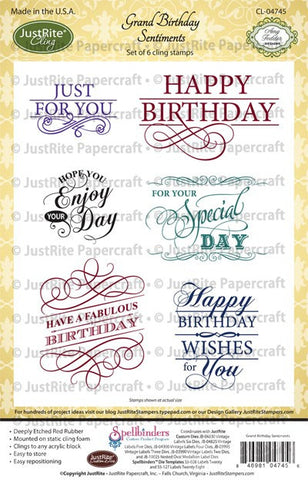 Grand Birthday Sentiments Cling Stamps