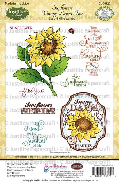 Sunflowers Vintage Labels Five Cling Stamps
