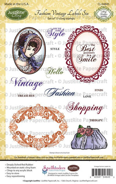 Fashion Vintage Labels Six Cling Stamps
