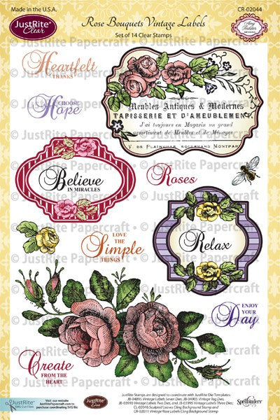 Rose Bouquet Vintage Labels Clear Stamps