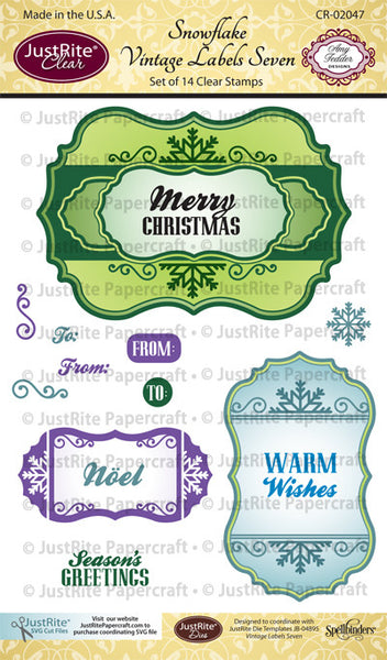 Snowflake Vintage Labels Seven Clear Stamps
