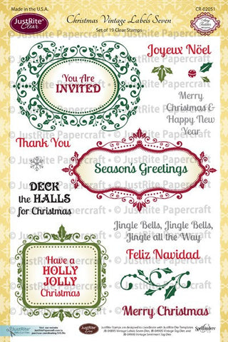 Christmas Vintage Labels Seven Clear Stamps