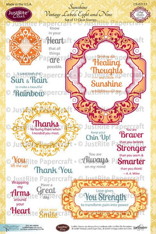 Sunshine Vintage Labels Eight and Nine Clear Stamps
