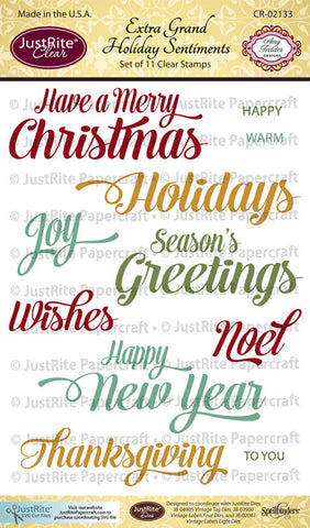 Extra Grand Holiday Sentiments Clear Stamps