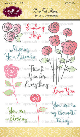 Justrite Papercraft Doodled Roses Clear Stamps