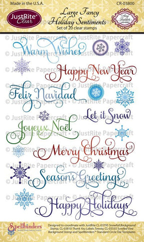 Large Fancy Holiday Sentiments Clear Stamps