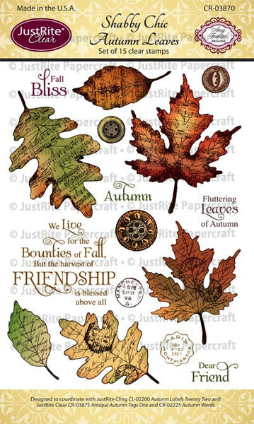 Shabby Chic Autumn Leaves Clear Stamps