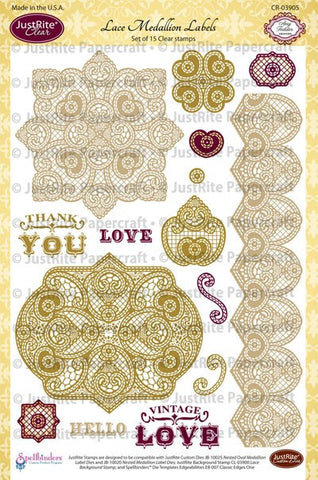 Lace Medallion Labels Clear Stamps