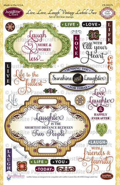 Live, Love, Laugh Vintage Labels Two Clear Stamps