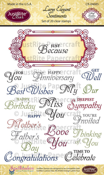 Large Elegant Sentiments Clear Stamps