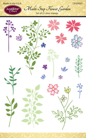 Justrite Multi-Step Create a Flower Garden Clear Stamps