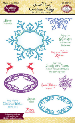 Justrite Small Oval Christmas Tidings Clear Stamps