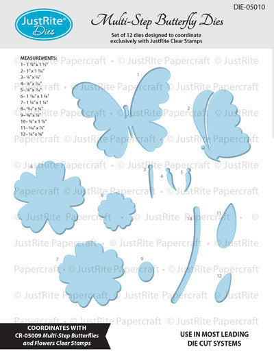 Justrite Multi-Step Butterflies and Flowers Clear Stamps