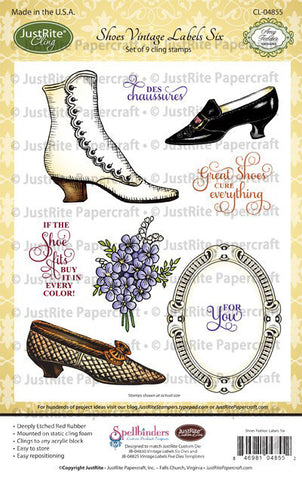Shoes Vintage Labels Six Cling Stamps