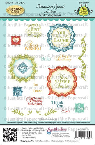Botanical Swirls Labels Cling Stamps