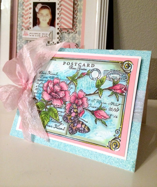 Rose Postcard Cling Background Stamp
