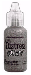 Tim Holtz Distressing Stickles Glitter Glue Brushed Pewter